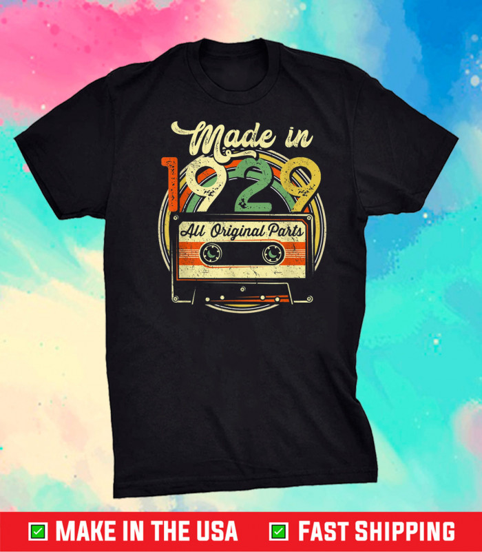 Made in 1929 92nd Birthday Gifts Cassette Tape Vintage Classic T-Shirt