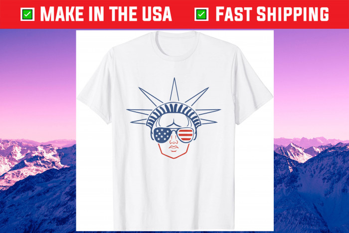 US Flag Statue of Liberty Sunglasses Apparel July 4th Party Gift T-Shirt