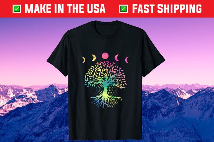 Earth Day 2021 Phases of the Moon Retro Vibe Tree Environme Gift T-Shirt